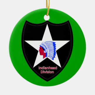 Army 2nd Infantry Division Ceramic Ornament