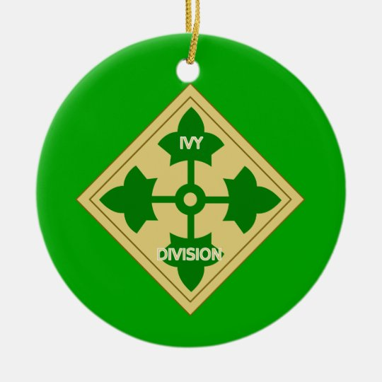 Army 4th Infantry Division Ceramic Ornament