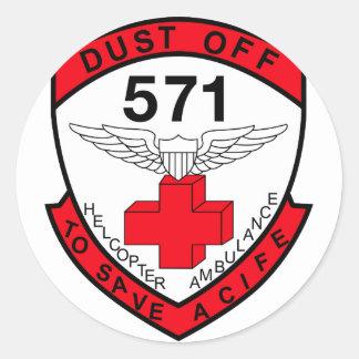 ARMY 571st Aviation Medical Company Air Ambulance Classic Round Sticker