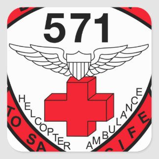 ARMY 571st Aviation Medical Company Air Ambulance Square Sticker