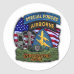 army 5th Special Forces Green Berets veterans Stic Round Stickers