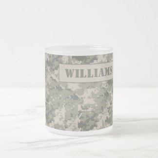 ARMY ACU Camoflauge Frosted Glass Coffee Mug Cup