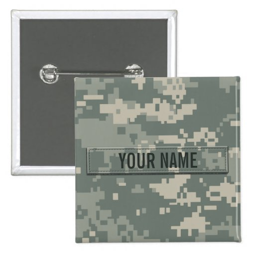 Army ACU Camouflage Customizable Pinback Buttons