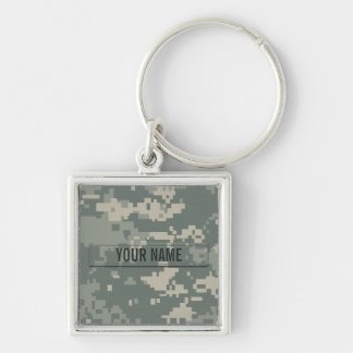 Army ACU Camouflage Customizable Silver-Colored Square Keychain