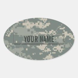 Army ACU Camouflage Customizable Oval Sticker