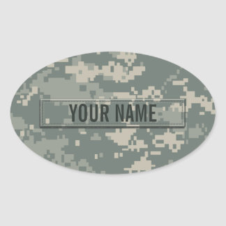 Army ACU Camouflage Customizable Oval Stickers