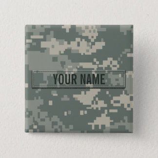 Army ACU Camouflage Customizable Pinback Button