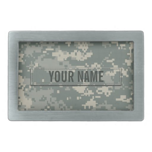 Army ACU Camouflage (Customizable) Rectangular Belt Buckle