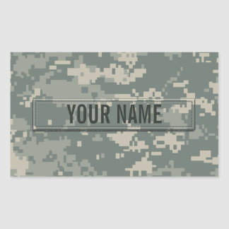 Army ACU Camouflage Customizable Rectangular Sticker