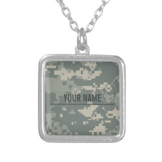 Army ACU Camouflage Customizable Square Pendant Necklace