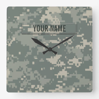 Army ACU Camouflage Customizable Square Wall Clock