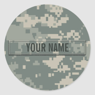 Army ACU Camouflage Customizable Classic Round Sticker