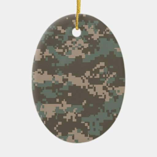 Army ACU Camouflage Double-Sided Oval Ceramic Christmas Ornament