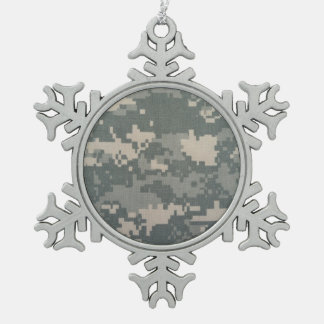 ARMY ACU SNOWFLAKE PEWTER CHRISTMAS ORNAMENT