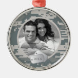Army ACUs and Dog Tags Round Metal Christmas Ornament