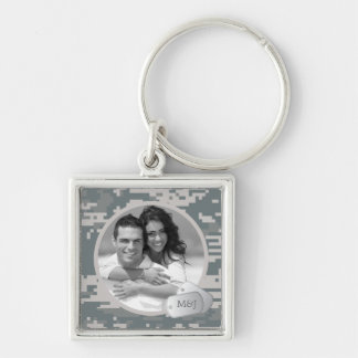 Army ACU's Pattern Customizable Photo & Dog Tags Silver-Colored Square Keychain