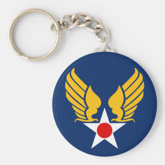 Army Air Corps Basic Round Button Keychain