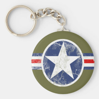 Army Air Corps Vintage Basic Round Button Keychain