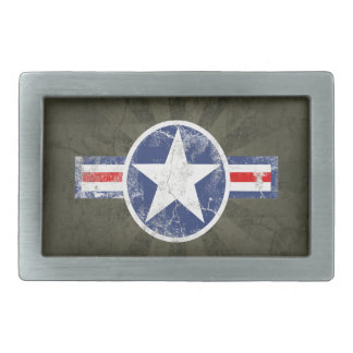 Army Air Corps Vintage Star Patriotic Rectangular Belt Buckle