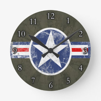 Army Air Corps Vintage Star Patriotic Round Clock