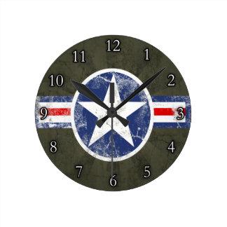 Army Air Corps Vintage Star Patriotic Round Clock