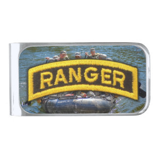 Army Airborne Rangers Veterans Vets Tab Silver Finish Money Clip
