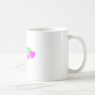 Army Aunt Lime Green Heart Coffee Mugs