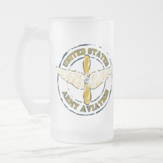 Army Aviation [Grunge Style] Frosted Glass Beer Mug
