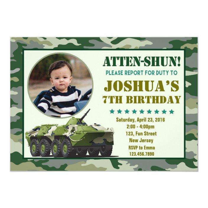 Army Birthday Invitation Zazzle
