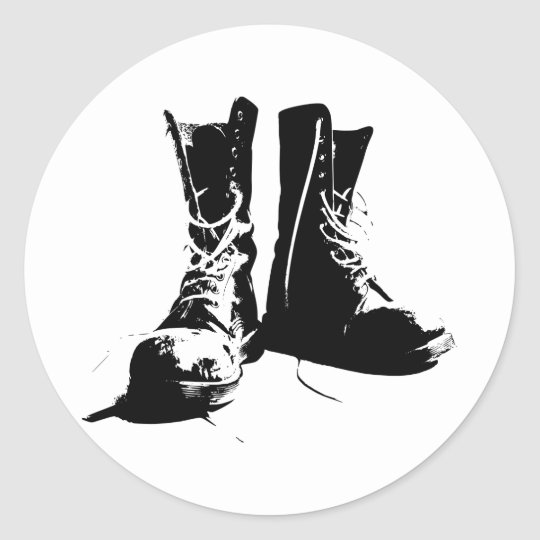 Army Boots Classic Round Sticker