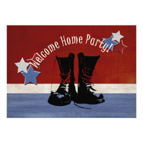 Army Boots Welcome Home Party Custom Invite