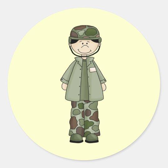 Army Boy Classic Round Sticker