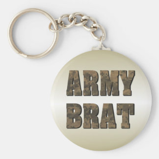 Army Brat in Camouflage Letters Military Keychain