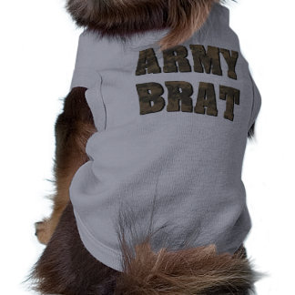 Army Brat in Military Camouflage Dog T Shirt