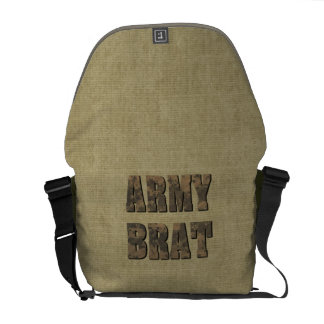 Army Brat Military Camo Letters on Tan Courier Bag
