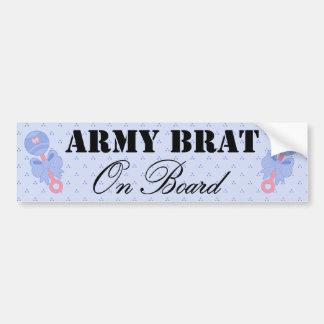 Army Brat On Board Blue Rattle Bumper Sticker
