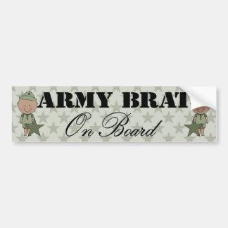 Army Brat On Board Boy Dark Skin Bumper Stickers