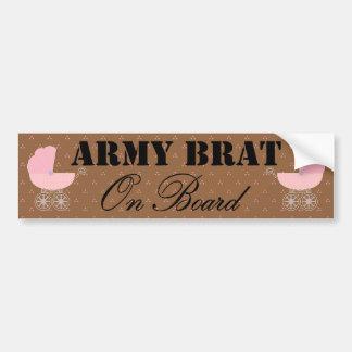 Army Brat On Board Pink Buggy Bumper Sticker