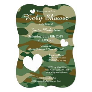 Army baby shower invitations announcements zazzle army camo baby shower invitations with cute hearts filmwisefo Gallery