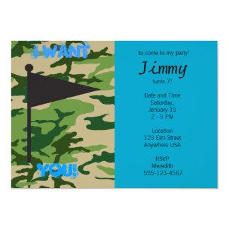 "Army Camo Birthday 5"" X 7"" Invitation Card"