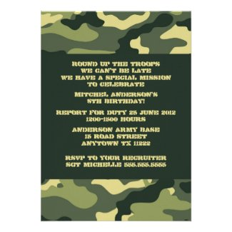 Army Camo Birthday Party invitation
