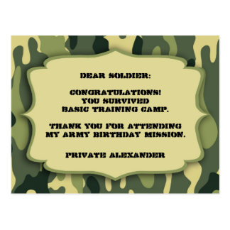 Army Camo Birthday party thank you note Postcard