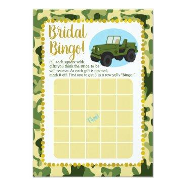 Army Camo Bridal Shower Bingo Game Card