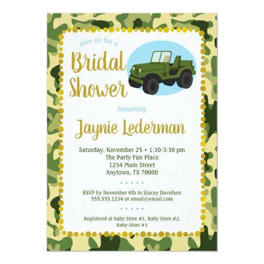 army camo bridal shower invitation