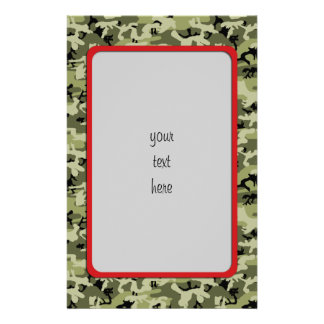 Army, Camo, Military Pattern - Green White Black Stationery