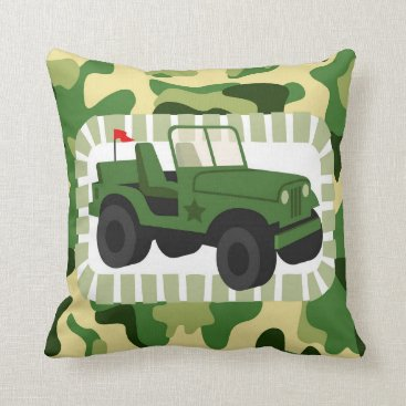 Army Camo Military Vehicle Throw Pillow