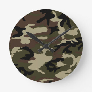 army camo print camouflage pattern military round clock