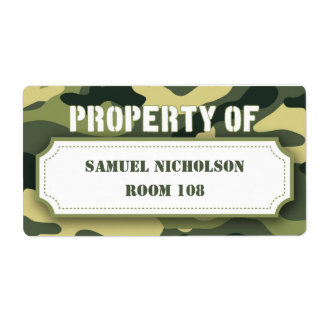 Army Camo Property ID school supply book Label