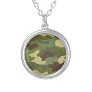 Army Camo Round Pendant Necklace