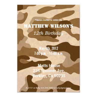 Army Camoflauge Invitations
